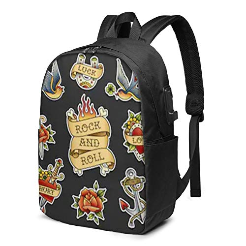 Old School Tattoo Sticker Collection Insulated Rockabilly Laptop Backpack Men Women USB Port Slim Business Computer Backpack Anti-Theft Water Resistant Travel Laptop Bag Lightweight 17 Inch