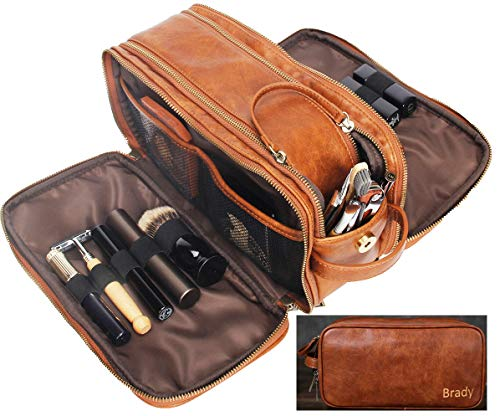 Personalized Leather Dopp Kit for Men Travel Toiletry Bag Cosmetic Shaving Bag Brown