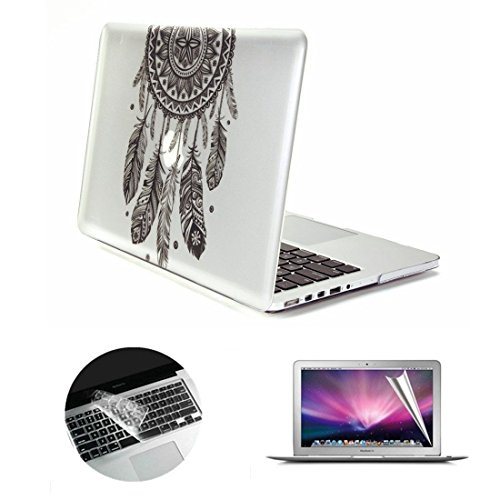 Se7enline Glossy Clear Crystal Hard Shell Case Cover for Macbook Air 13 inch Model A1369/A1466 with Silicone Keyboard Skin and Screen Protector for girl women, Black Dream Catcher Pattern