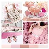Vlando Boîte à Bijoux avec Miroir et Fermoir,Coffret à Bijoux en Cuir pour Bracelets, Boucles d oreilles, bagues, Colliers, Montres (Rosa)