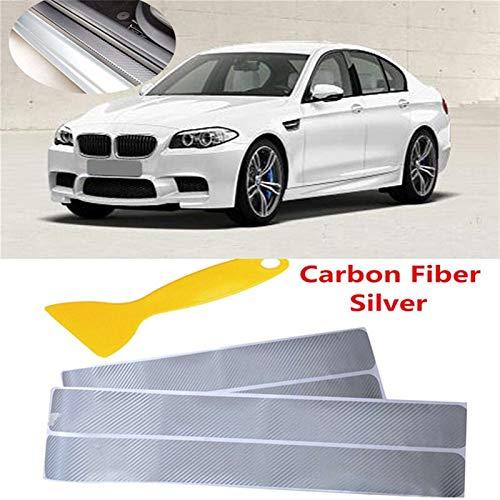 WangQianNan 4 pegatinas universales para el umbral del coche, de fibra de carbono, antiarañazos, para proteger los pedales de coche, camioneta, SUV, camión, color plateado