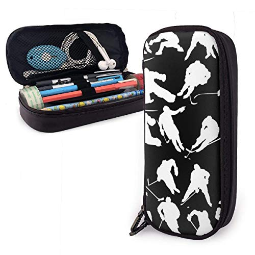 Pencil Case Big Capacity Make-up Pen Pouch Bag Leder Langlebige Studenten Briefpapier mit Doppelreißverschluss Halter Box Organizer für School Office Geschenk Hockey Ice Player