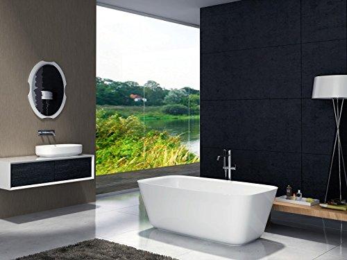 Bernstein Badshop Freistehende Badewanne aus Mineralguss CUBE STONE Standbadewanne in Weiß - 180 x 85 cm - Solid Stone