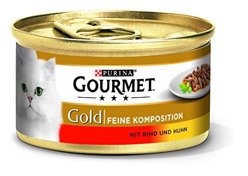 PURINA GOURMET gouden fijne compositie kattenvoer nat, met rund- en kip, pak van 12 (12 x 85 g)