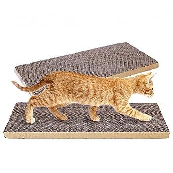 OMEM Lot de 2 griffoirs antidérapants en carton pour chat pour griffer, dormir et jouer n'importe où, facile à découper et à faire soi-même comme vous le souhaitez