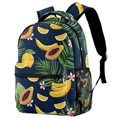 TIZORAX Rucksack Tropische Früchte Mango Papaya Banana Lemon Schultasche Rucksack Reisen Casual Tagesrucksack für Frauen Teenager Mädchen Jungen