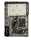 Roros Tweed Designer 100% Norwegian Wool Throw Blanket in Many Patterns (Kristin in Natural/Grey)