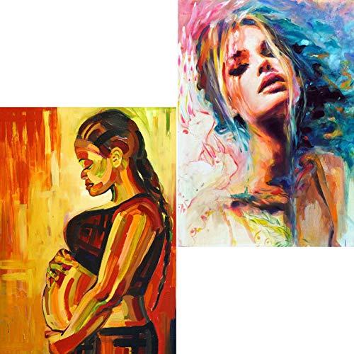 Ginfonr Diamond Painting 5D Diamante Pintura Mujer Embarazada, Bailarina Para Adultos Por Kits Numéricos Pintura De Taladro Completo Con Decoración De Pared De Diamantes Art 30 * 40 cm, 2Pack(GX698)