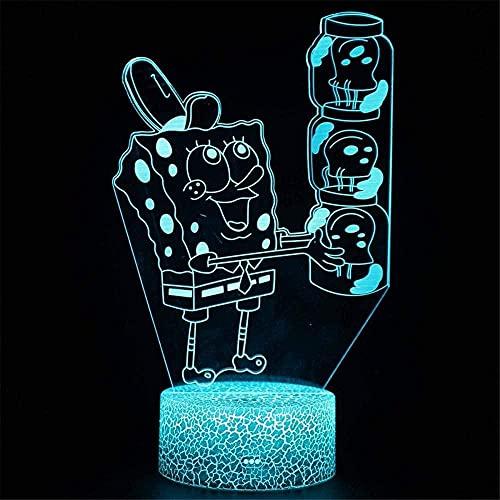 King of Fighters - Lámpara para adolescentes (16 colores, luz de aire caliente, globo nocturno, para cumpleaños, vacaciones, decoración, regalo de Bob Esponja