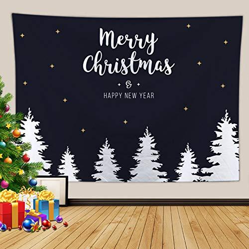 Kihomedy Tapiz de pared de Navidad para dormitorio, diseño de árbol de Navidad, color blanco y negro, para decoración de dormitorio, 150 x 130 cm