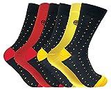 6er pack herren bunt muster komfort anzug antibakteriell atmungsaktiv qualität bambussocken/bambus socken (Polka dot Red/Yellow)