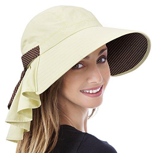 Solaris Sommer-Sonnenhut mit breiter Krempe für Frauen mit Halsabdeckung und verstellbarem Riemen Floppy Faltbarer UV-Schutz-Eimerhut zum Wandern Angeln Garten Safari Beach Bräunen