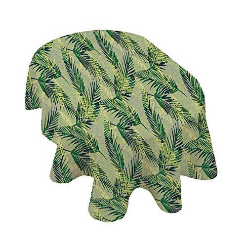 Mantel ovalado de hojas de palmera, patrón selvático, dibujado a mano, follaje verde, exuberante mantel de poliéster decorativo, 152 x 251 cm, para comedor y fiesta, verde pistacho, verde