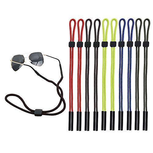 Forepin 10 Stück Brillenband Brillenkordel, Einstellbarer Brille Cord Sonnenbrille Retainer Anti-Rutsch Brillen Halter Gurte Unisex für Sport und Outdoor-Aktivitäten