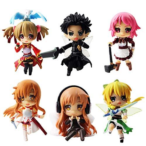 FJKYF Anime Spielzeugschwertkunst Online 2 Figuren Kirito Asuna Leafa Lisbeth Silica Feen Tanz Sao Mini Model Dolls 6Stk / Lot 6Cm