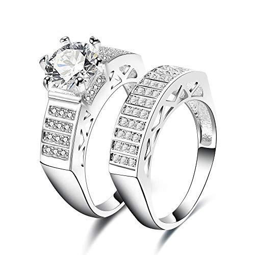 Yarmy Anello da Uomo Curvo Anello d'oro Bianco con Multi-Diamanti Materiale: Rame