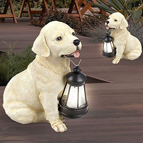 2er Set LED Solar Leuchten Hunde Figuren Retriever Garten Laterne Außen Dekoration Hof Balkon Beleuchtung