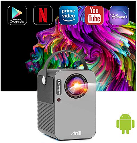Proiettore Smart Android TV 9.0 Artlii Play Pro Proiettore Wifi Bluetooth Mini Proiettore Portatile Supporta 5.0G/2.4G WiFi Dolby Stereo Correzione ±45° Home Theater con Netflix, Prime Video, Disney+