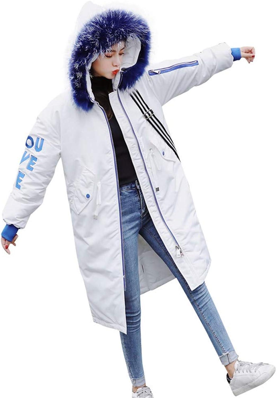 BETTERUU Women Winter Warm Letter Print Outerwear Hooded Coat Slim CottonPadded Jacket
