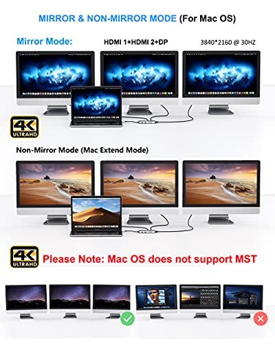 Dockingstation USB C Triple Display Dual HDMI Adapter, 9 in 1 USB C zu Displayport Adapter SD TF Kartenleser 2USB 2.0, 1 USB 3.0, 100W PD für Dell XPS 13/15, Lenovo Yoga, Huawei Matebook X Pro usw. - 4