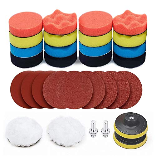 Polishing Pads Kit, Car Foam Drill 3 Inch Buffing Pad Wool Pads Backing Plate with #60,#180,#320 Sanding Disc for Car Buffer Polisher Sanding, Waxing, Polishing, Sealing Glaze