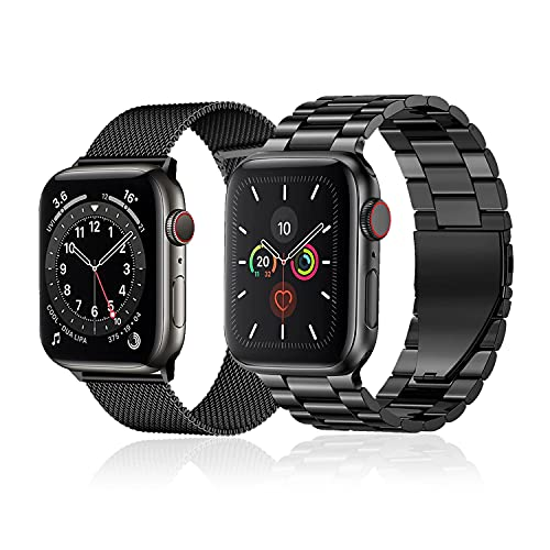baklon 2 piezas compatibles con correa de reloj Apple 44mm 42mm 40 mm 38 mm, correa deportiva de acero inoxidable de repuesto compatible con iWatch Series SE/6/5/4/3/2/1