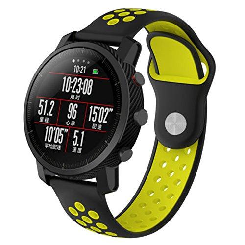 Pulseira de silicone de reposição para pulseira de pulso Szkn para Samsung Gear S3, Black and yellow
