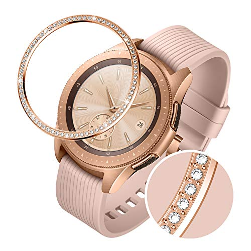 GELISHI Stainless Steel Bezel Ring Compatiable Galaxy Watch 42mm/Gear Sport,Sparkling 72 Crystal Diamond Bezel Cover Adhesive Anti Scratch & Collision Protector for Galaxy Watch Accessory - Rose Gold
