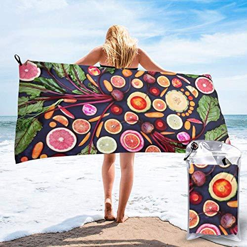 Toalla de Playa para Mujer, Toalla de Microfibra para Piscina para parrilladas, Verduras Veganas, Frutas, Viajes al Aire Libre, Toallas de Secado rápido