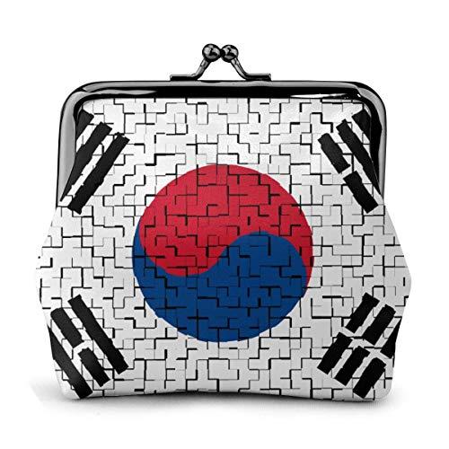 Münze Geldbörsen South Korea Flag Puzzle Buckle Coin Purses Pouch Mini Wallet Zipper Storage Bag Kiss-Lock Change Women's Wallets Clasp