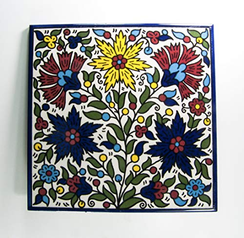 Armenian Ceramic Wall Tile Holy Land Tiles Floral Handmade Colorful Hanging Decor Tiles Jerusalem Israel Decorative Hand Painted Pottery Gift