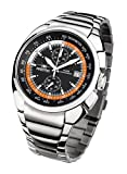 FIREFOX Aviator FFS70-107 schwarz/orange Chronograph Herrenuhr Armbanduhr massiv Edelstahl Sicherheitsfaltschließe 10 ATM Water Resistant