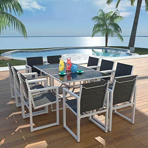 Lechnical Set de Comedor de jardín 11 Piezas Comedor Exterior Conjunto de jardín terraza Muebles de jardín Comedor Juego Conjunto de Sillas Aluminio Negro