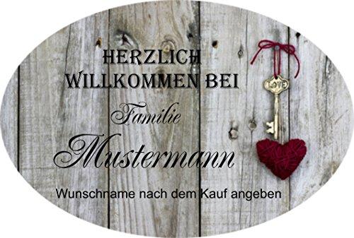 Creativ Deluxe Türschilder aus Schiefer auch mit Wunschname (grau), Willkommen Haustürschild mit Namen, mit Löchern zum Aufhängen
