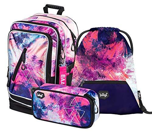 Schulrucksack Set Mädchen 3 Teilig - Schultasche ab 3. Klasse - Grundschule Ranzen mit Brustgurt - Ergonomischer Schulranzen (Abstract)