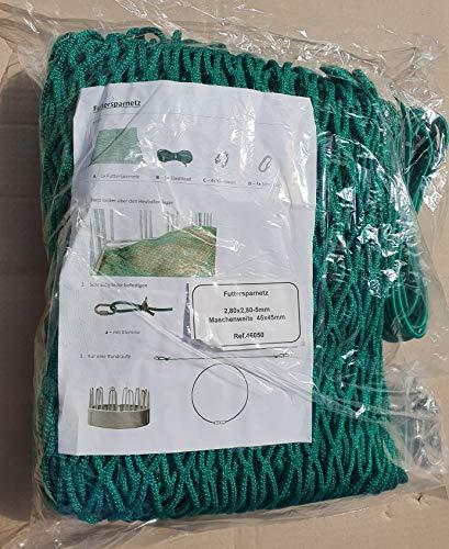 Landkaufhaus Mayer Futtersparnetz für Heuraufen 2,80 x2,80m grün,Maschenweite 45 x 45mm, Seilstärke 5mm!!,inkl. Elastikseil mit Verschluß