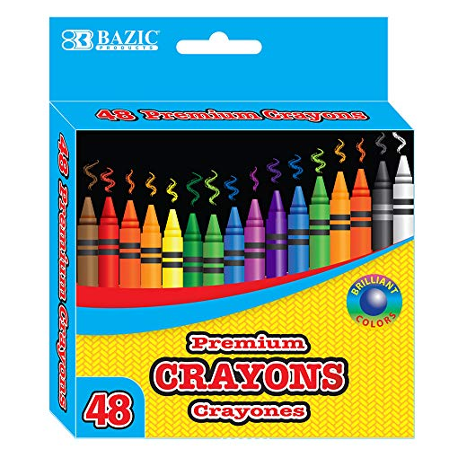 BAZIC 48 Counts Premium Color Crayons, Coloring Set, Large Pack Gift for School Classroom Art Kids Teens, 24-Pack