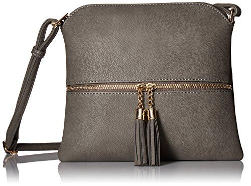 Lightweight Medium Crossbody Bag with Tassel Grey