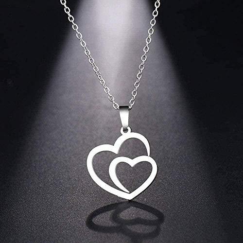 LKLFC Collar Collar de Acero Inoxidable para Mujer Hombre Hueco Doble corazón Gargantilla de Oro Rosa Collar Colgante joyería de Compromiso Collar Colgante Regalo para Mujeres Hombres niñas niños