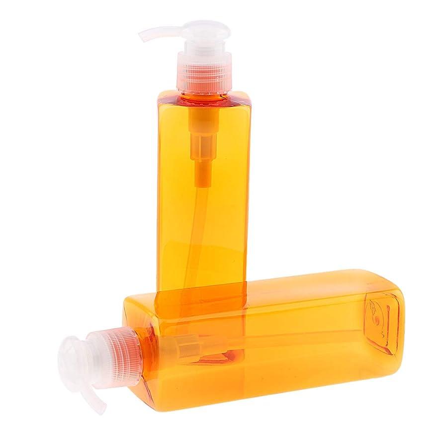 ロビー東傷跡P Prettyia 2本 ポンプボトル 大容量 500ml ヘアサロン ホーム 化粧品ボトル 2色選べ - 透明ポンプ