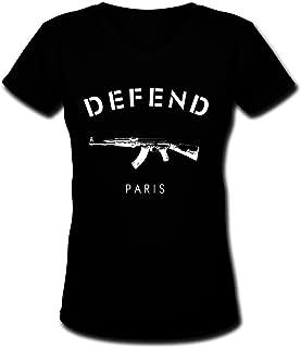 PTLJY Black Cotton DEFEND PARIS AK47 A0107 Womens V-Neck T-Shirt
