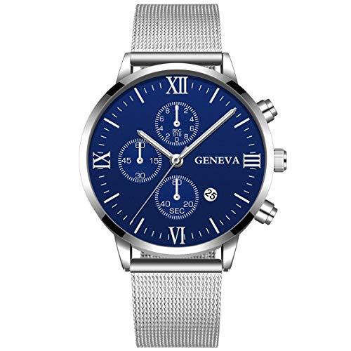 BURFLY Quarzuhr der Maschengurtmänner, Luxus-Edelstahl-Mann-Militärquarz-analoge Armbanduhr-wasserdichte Uhr