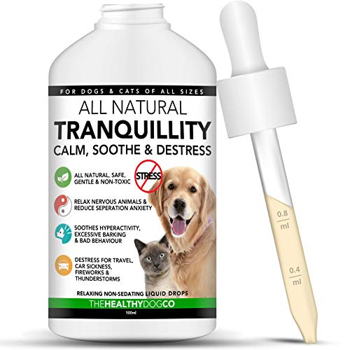 The Healthy Dog Co all Natural Gocce Calmanti per Cani e Gatti | 50-100 dosi | Il Trattamento Calmante più Sano per Animali Domestici con Problemi di Stress e Ansia