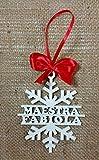 Decorazioni natalizie fiocco di neve, un regalo originale e personalizzato con nome per stupire e ringraziare le maestre e gli insegnanti per il lavoro svolto ogni giorno con i nostri bambini. Bellissimo decoro per casa lavoro o albero di natale