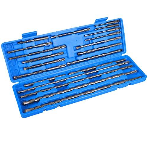 COMOWARE 20pcs Rotary Hammer Drill Bits Set - SDS Plus Concrete Masonry Hole Tool with Storage Case for Brick, Cement, Stone & Concrete