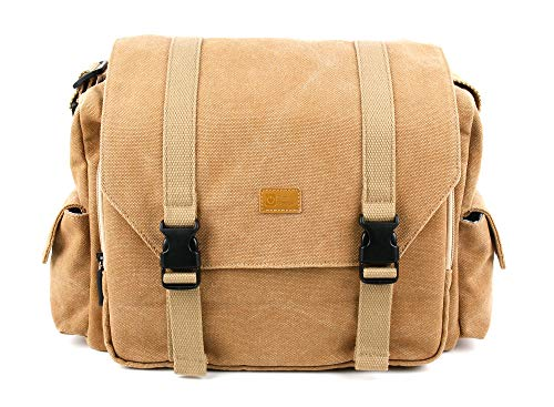 DURAGADGET Tan-Brown Large Sized Canvas Carry Bag - Compatible with Marshall Kilburn & Stockwell