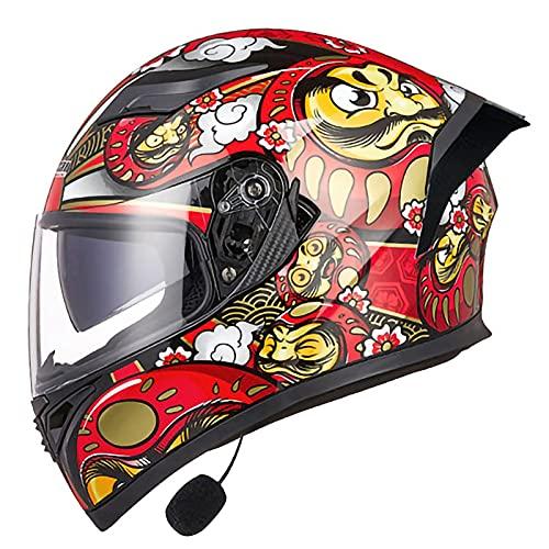 NBMNN Casco para Motocicleta, Casco Integral Flip Up Bluetooth Modular Moto Dot/ECE Homologado con Doble Visera para Adultos Hombres Mujeres A,M=55~57CM