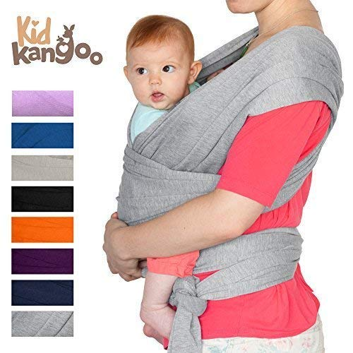 Fular Portabebés Foulard porte-bébé en coton et lycra pour homme et femme Disponible en huit couleurs (GRIS)