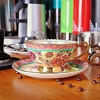 古代磁器のコーヒーカップ、皿スーツ英国のセラミックプノンペンのアフタヌーンティーカップを復元するヨーロピアンスタイル オフィスのコーヒーカップ (Capacity : 220ml, Color : 4)