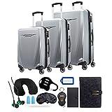 Samsonite 120751-1776 Winfield 3 DLX 3 Piece Set Spinner 20 Inch, 25 Inch, 28 Inch - Silver Bundle w/Deco Gear Luggage Accessory Kit (10 Item)